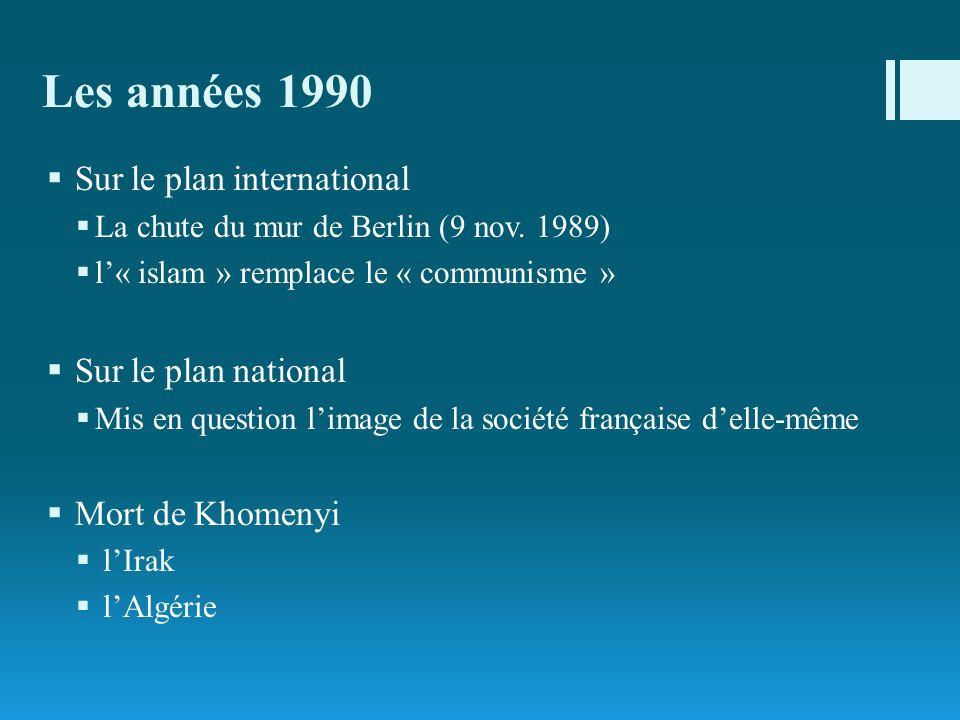 Les années 1990 Sur le plan international La chute du mur de Berlin (9 nov. 1989) l« islam » remplace le « communisme » Sur le plan national Mis en qu