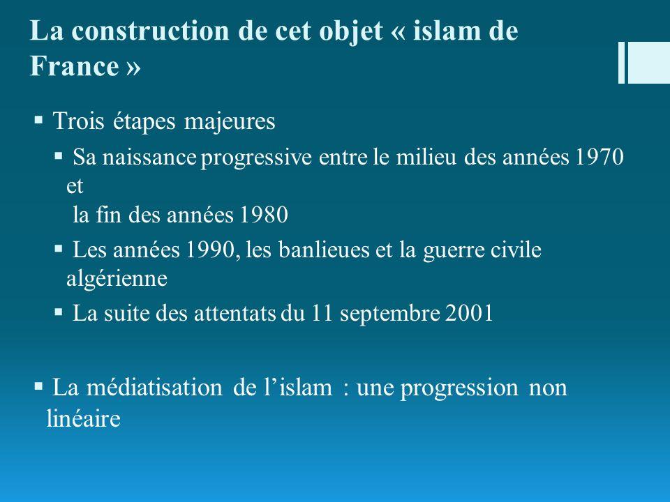 La construction de cet objet « islam de France » Trois étapes majeures Sa naissance progressive entre le milieu des années 1970 et la fin des années 1