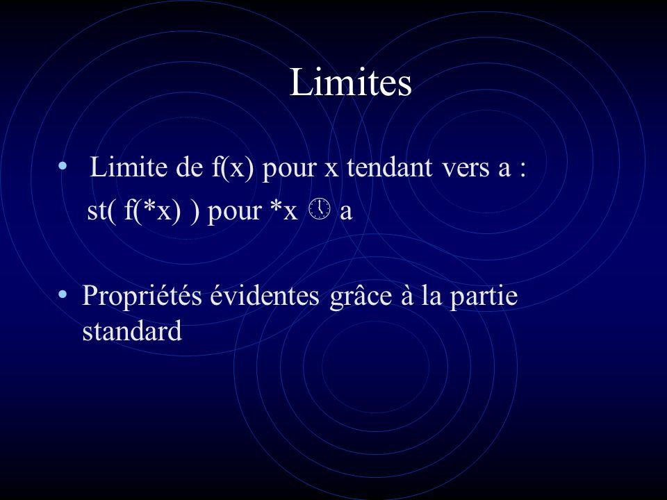 Continuité f est continue en a dom f si *x a, f(*x) f(a) ou encore st(*x) = a => st(f(*x)) = f(a) Les fonctions x, sin x, cos x et e sont continues en