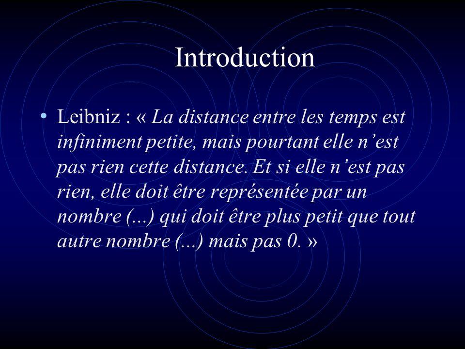 Introduction Leibniz : « La distance entre les temps est infiniment petite, mais pourtant elle nest pas rien cette distance.
