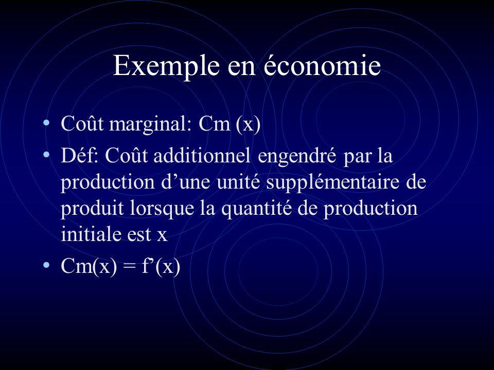 Exemple en économie Coût marginal: Cm (x) Déf: Coût additionnel engendré par la production dune unité supplémentaire de produit lorsque la quantité de production initiale est x Cm(x) = f(x)