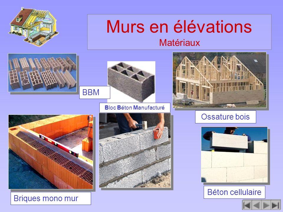 Murs en élévations Matériaux Béton cellulaire BBM Briques mono mur Ossature bois Bloc Béton Manufacturé