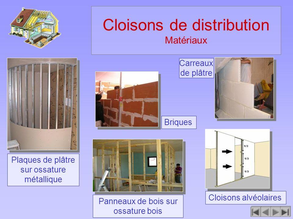 Cloisons de distribution Matériaux Cloisons alvéolaires Carreaux de plâtre Plaques de plâtre sur ossature métallique Panneaux de bois sur ossature boi