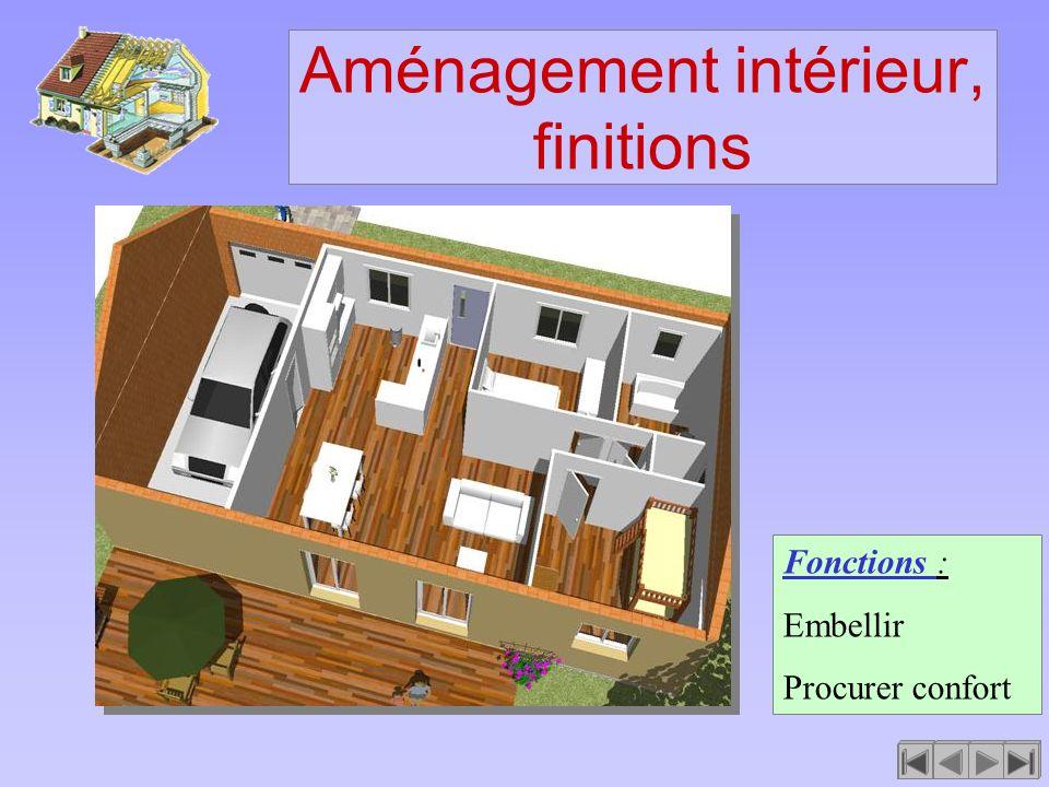 Aménagement intérieur, finitions Fonctions : Embellir Procurer confort