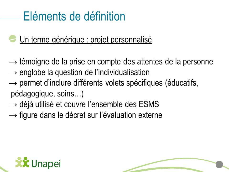 Eléments de définition Un terme générique : projet personnalisé témoigne de la prise en compte des attentes de la personne englobe la question de lind