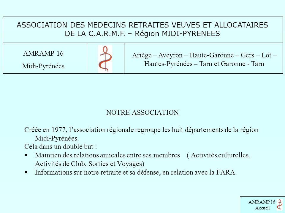 AMRAMP 16 Accueil NOTRE ASSOCIATION Créée en 1977, lassociation régionale regroupe les huit départements de la région Midi-Pyrénées. Cela dans un doub