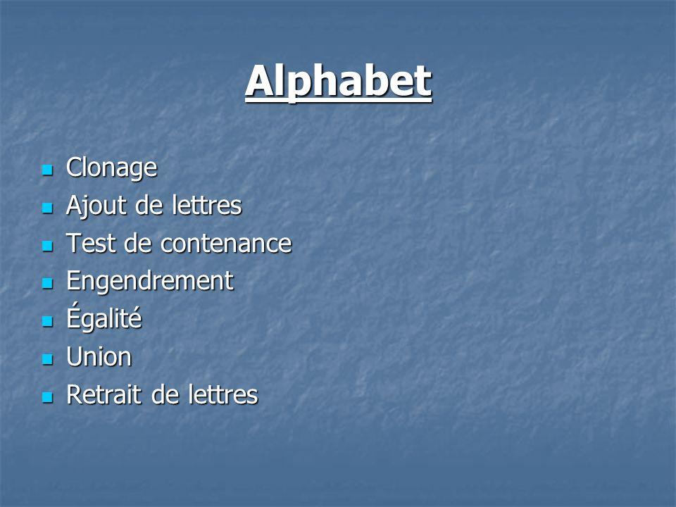 Alphabet Clonage Clonage Ajout de lettres Ajout de lettres Test de contenance Test de contenance Engendrement Engendrement Égalité Égalité Union Union