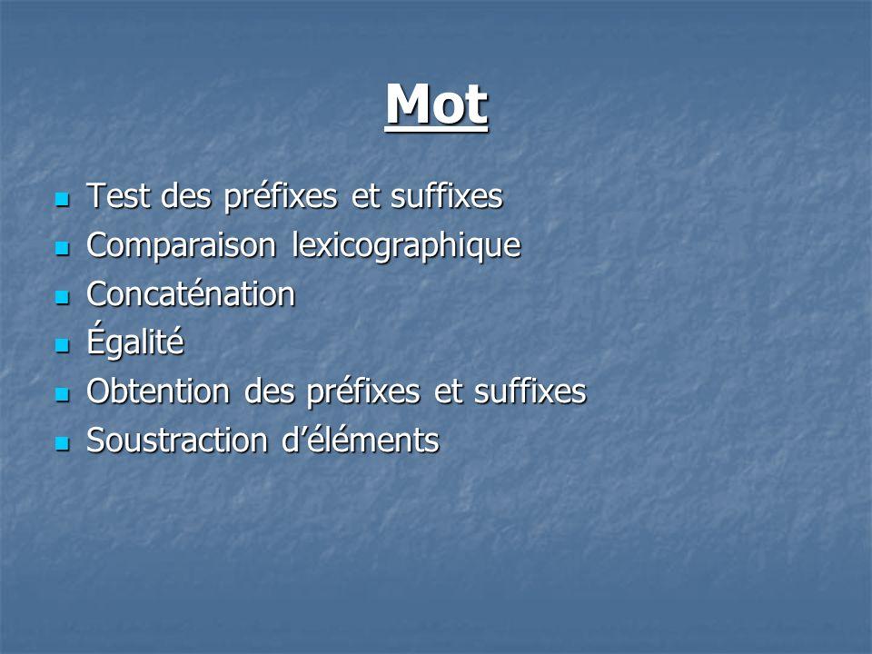 Mot Test des préfixes et suffixes Test des préfixes et suffixes Comparaison lexicographique Comparaison lexicographique Concaténation Concaténation Ég