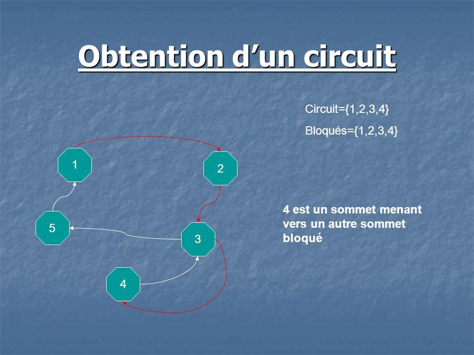 Obtention dun circuit 5 1 2 3 4 Circuit={1,2,3,4} Bloqués={1,2,3,4} 4 est un sommet menant vers un autre sommet bloqué