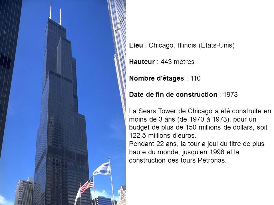 Lieu : Kuala Lumpur (Malaisie) Hauteur : 452 mètres Nombre d étages : 88 Date de fin de construction :1998 Les Petronas ont nécessité 36910 tonnes d acier à leur construction, pour un coût total de 1,6 milliards de dollars (1,3 milliards d euros).