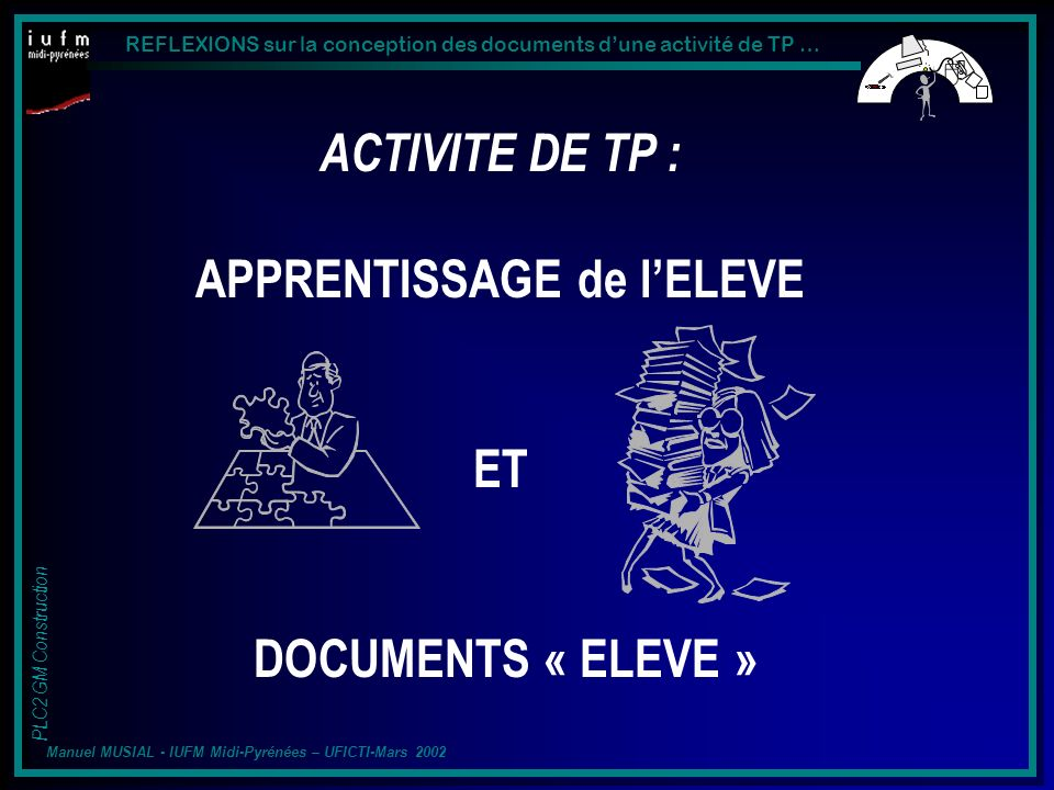 REFLEXIONS sur la conception des documents dune activité de TP … PLC2 GM Construction Manuel MUSIAL - IUFM Midi-Pyrénées – UFICTI-Mars 2002 Structuration : Confrontation, organisation, mise en relation des concepts, liaison au déjà connu.