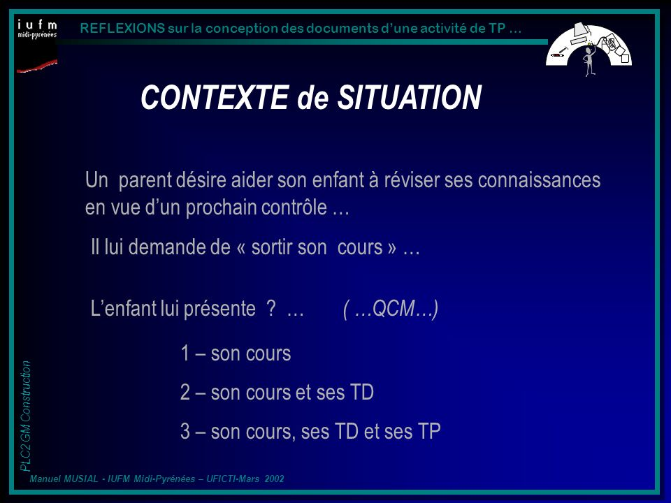 REFLEXIONS sur la conception des documents dune activité de TP … PLC2 GM Construction Manuel MUSIAL - IUFM Midi-Pyrénées – UFICTI-Mars 2002 Représentation dun niveau supérieur.