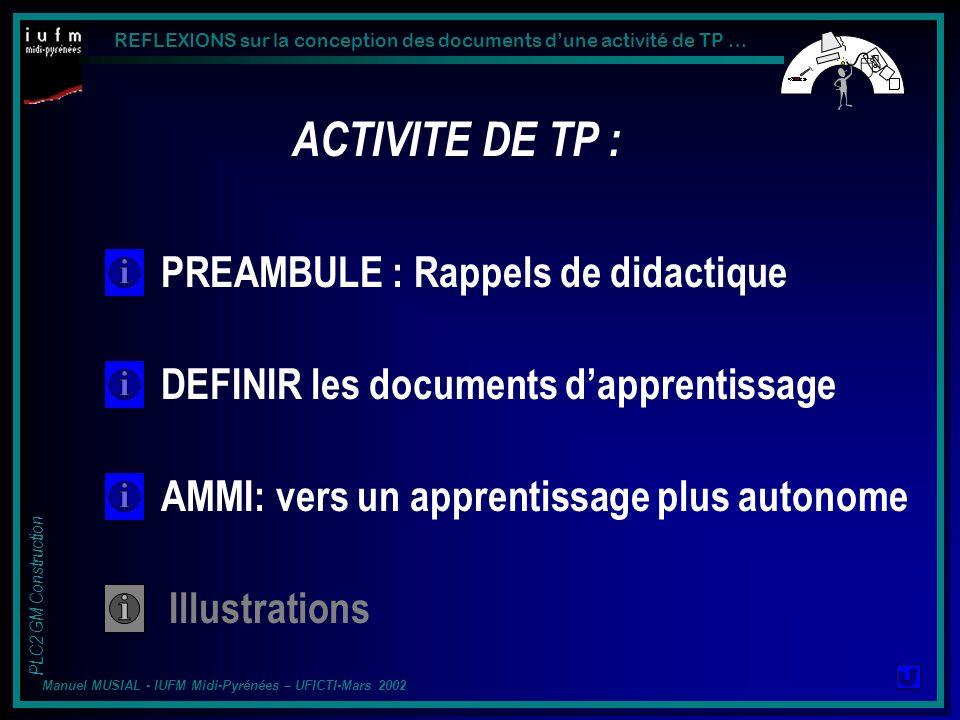REFLEXIONS sur la conception des documents dune activité de TP … PLC2 GM Construction Manuel MUSIAL - IUFM Midi-Pyrénées – UFICTI-Mars 2002 ACTIVITE DE TP : DOCUMENTS « ELEVE » … …Vers un APPRENTISSAGE plus AUTONOME