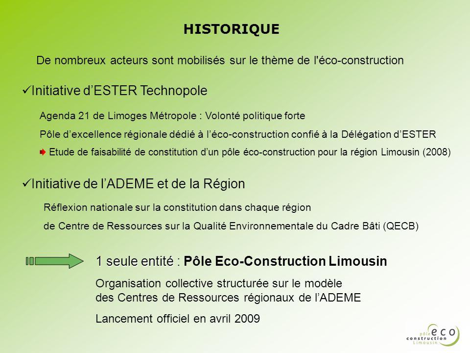 HISTORIQUE Initiative dESTER Technopole Agenda 21 de Limoges Métropole : Volonté politique forte Pôle dexcellence régionale dédié à léco-construction