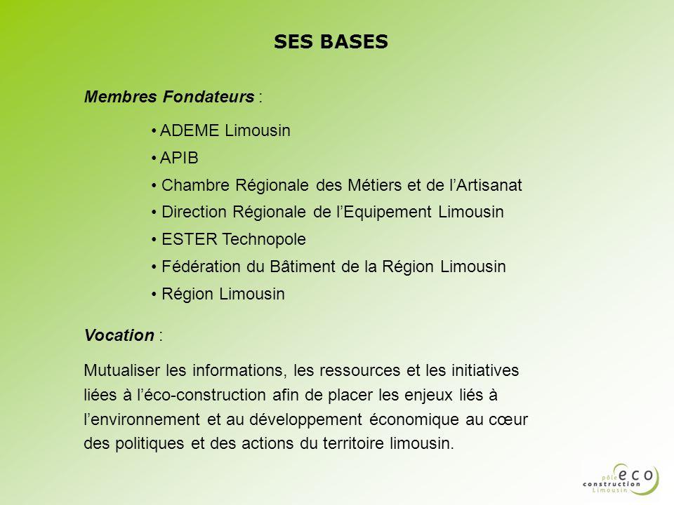 SES BASES Membres Fondateurs : ADEME Limousin APIB Chambre Régionale des Métiers et de lArtisanat Direction Régionale de lEquipement Limousin ESTER Te