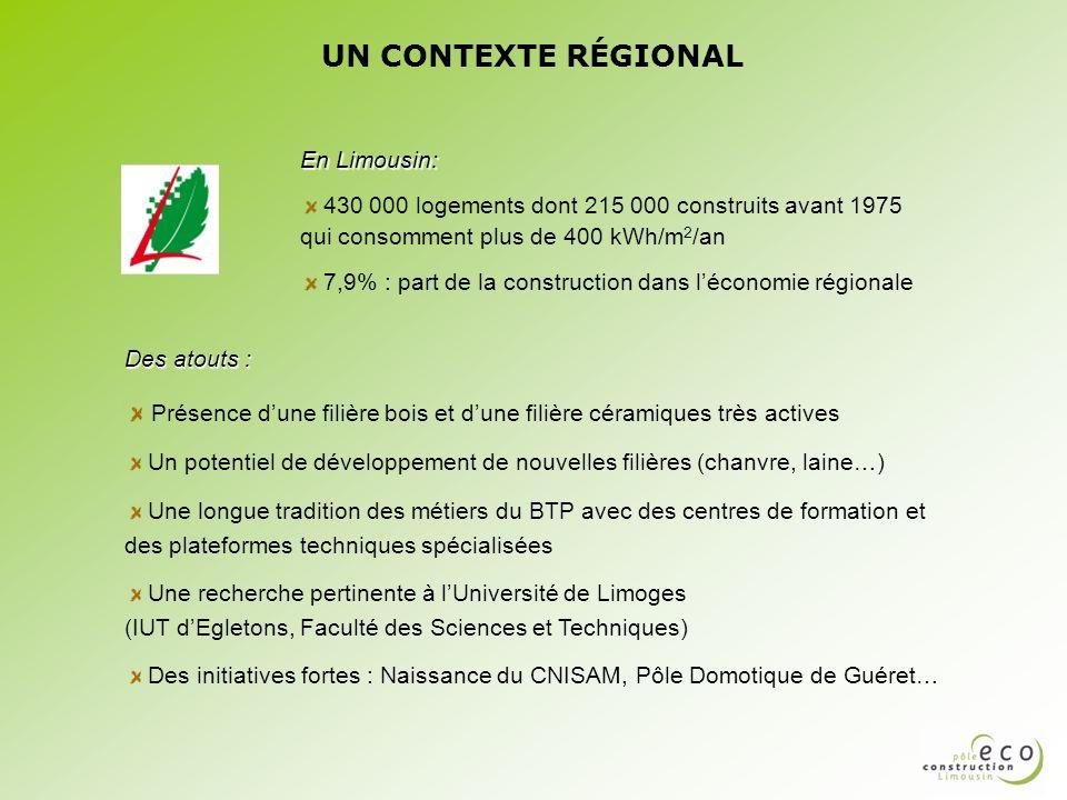 UN CONTEXTE RÉGIONAL En Limousin: 430 000 logements dont 215 000 construits avant 1975 qui consomment plus de 400 kWh/m 2 /an 7,9% : part de la constr