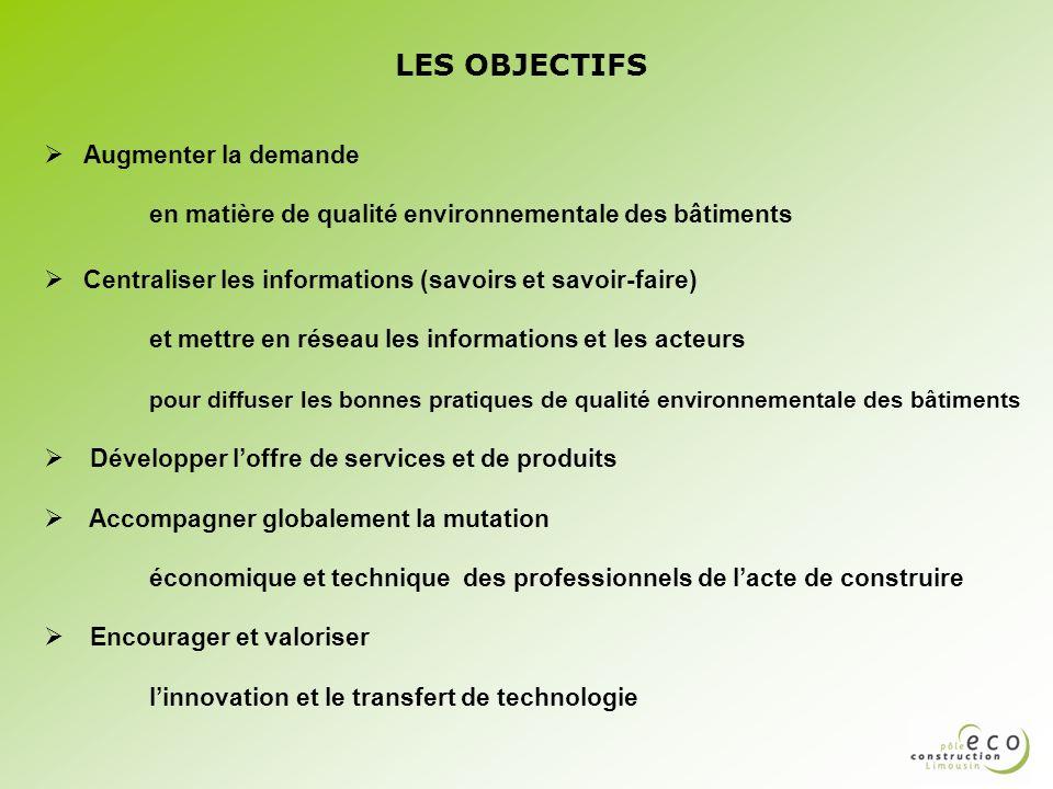 LES OBJECTIFS Augmenter la demande en matière de qualité environnementale des bâtiments Centraliser les informations (savoirs et savoir-faire) et mett