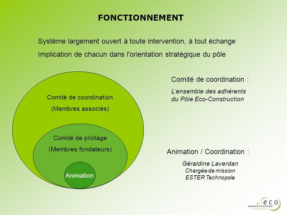 FONCTIONNEMENT Animation Comité de pilotage (Membres fondateurs) Comité de coordination (Membres associés) Animation / Coordination : Géraldine Laverd
