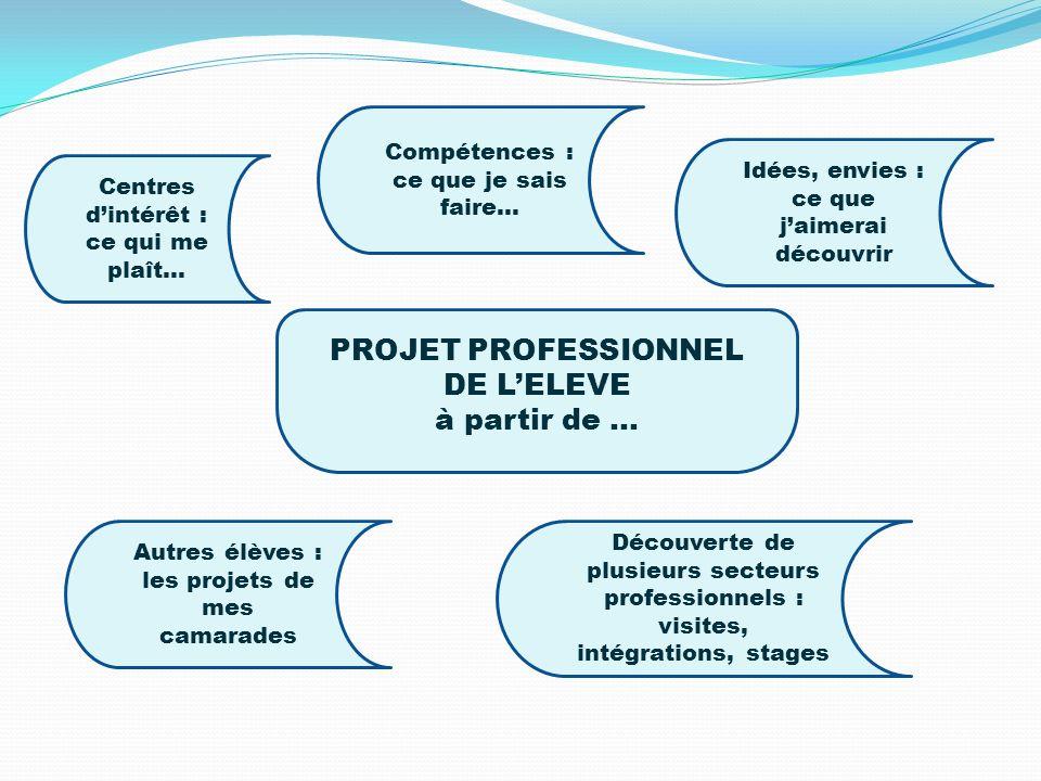 PROJET PROFESSIONNEL DE LELEVE à partir de … Centres dintérêt : ce qui me plaît… Compétences : ce que je sais faire… Idées, envies : ce que jaimerai d