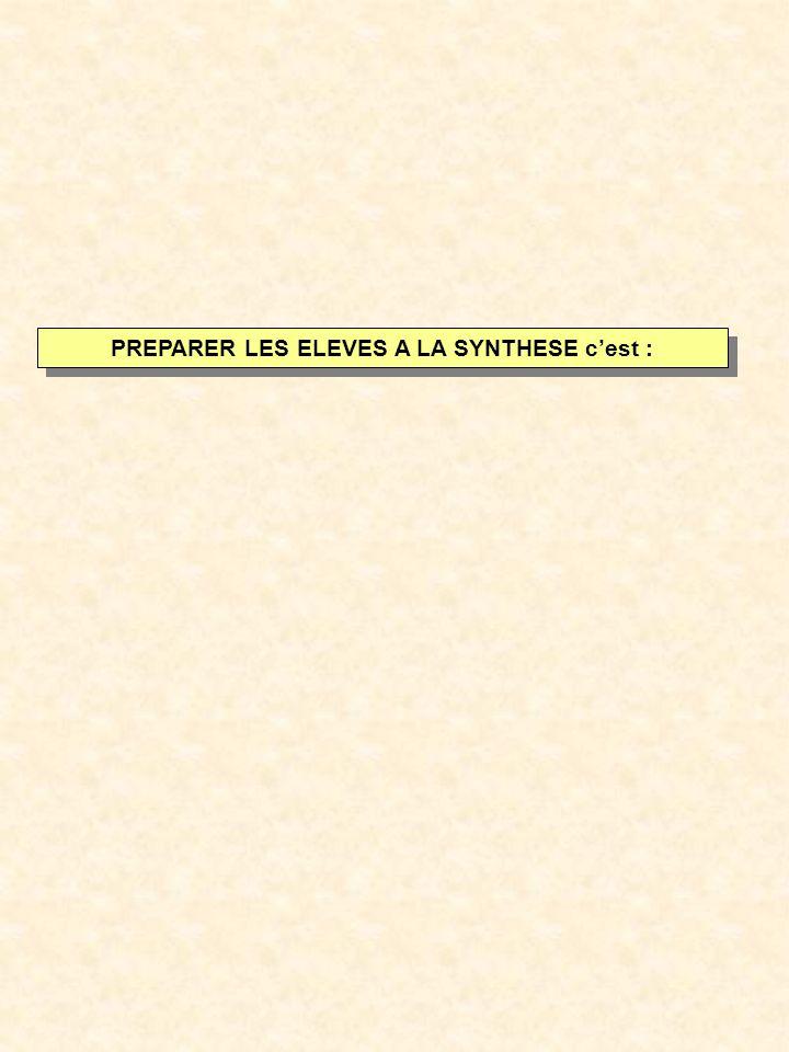 PREPARER LES ELEVES A LA SYNTHESE cest :