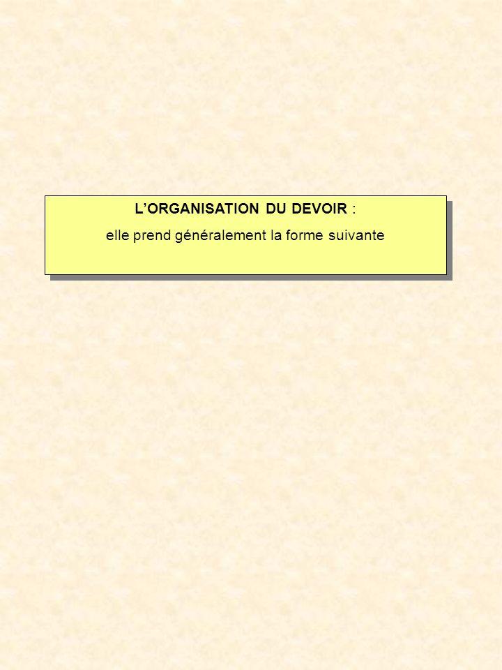 LORGANISATION DU DEVOIR : elle prend généralement la forme suivante LORGANISATION DU DEVOIR : elle prend généralement la forme suivante