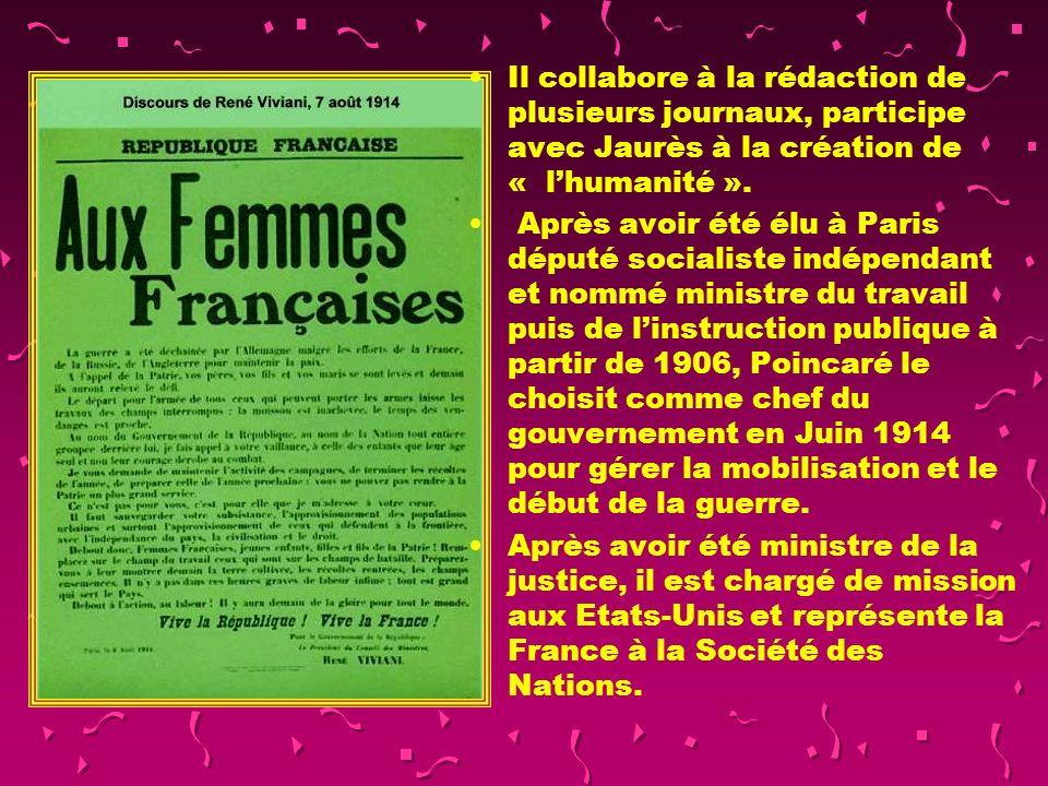René Viviani (1863-1925) Après avoir commencé sa carrière davocat à SBA, il se spécialise à Paris dans la défense de droits des ouvriers syndicalistes et des socialistes.