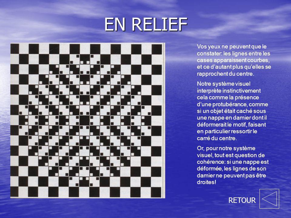EN RELIEF RETOUR Vos yeux ne peuvent que le constater: les lignes entre les cases apparaissent courbes, et ce dautant plus quelles se rapprochent du centre.