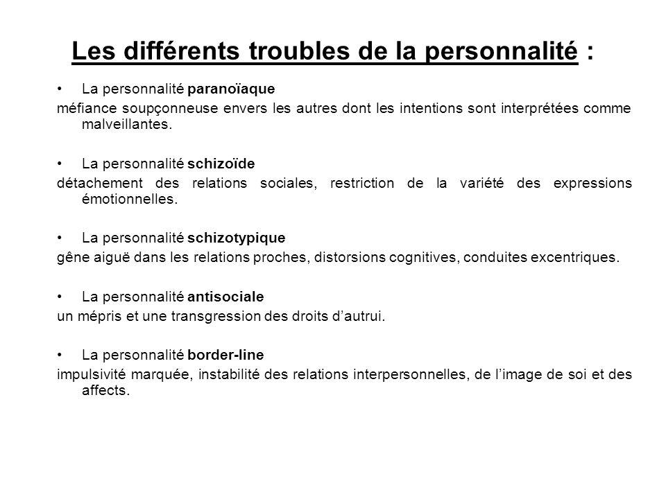 Les différents troubles de la personnalité : La personnalité paranoïaque méfiance soupçonneuse envers les autres dont les intentions sont interprétées