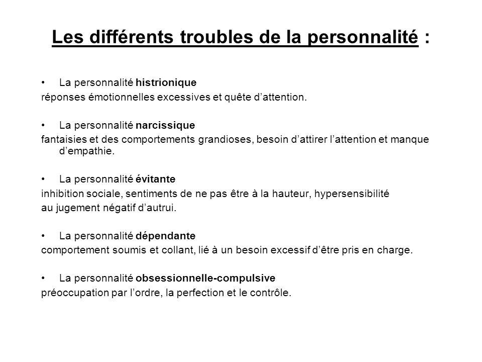 Les différents troubles de la personnalité : La personnalité histrionique réponses émotionnelles excessives et quête dattention. La personnalité narci