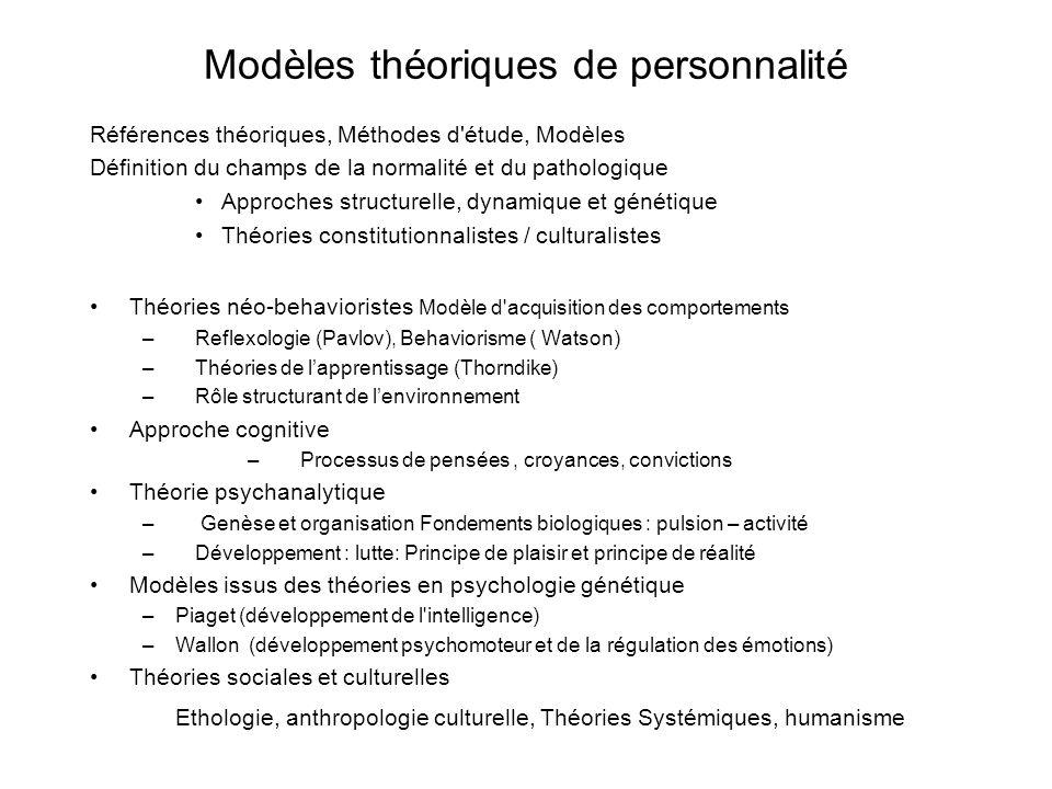 Modèles théoriques de personnalité Références théoriques, Méthodes d'étude, Modèles Définition du champs de la normalité et du pathologique Approches