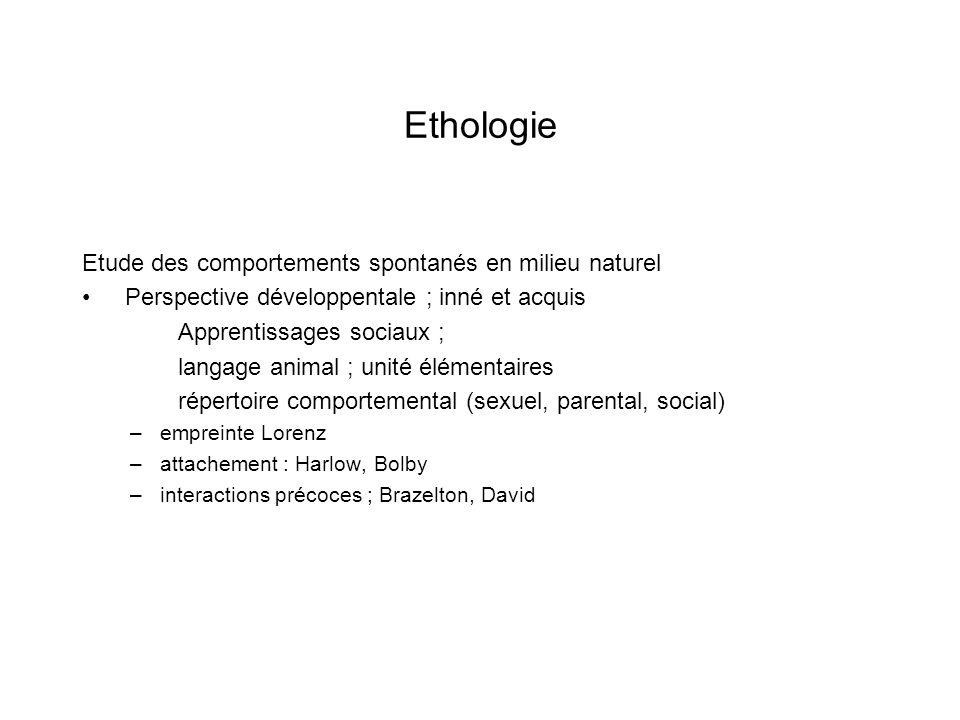 Ethologie Etude des comportements spontanés en milieu naturel Perspective développentale ; inné et acquis Apprentissages sociaux ; langage animal ; un