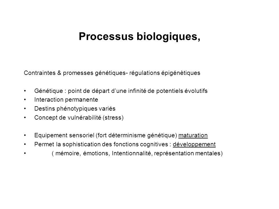 Processus biologiques, Contraintes & promesses génétiques- régulations épigénètiques Génétique : point de départ dune infinité de potentiels évolutifs