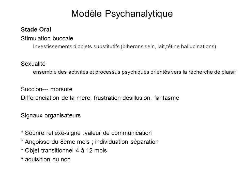 Modèle Psychanalytique Stade Oral Stimulation buccale Investissements d'objets substitutifs (biberons sein, lait,tétine hallucinations) Sexualité ense