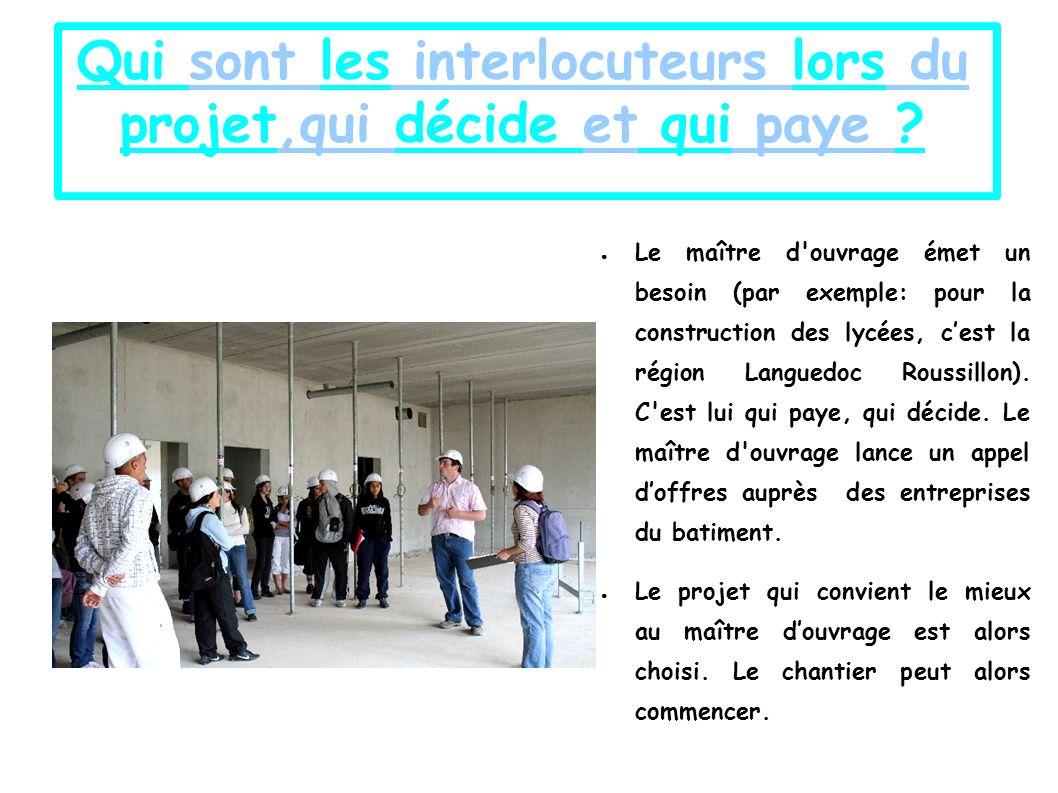 Qui sont les interlocuteurs lors du projet,qui décide et qui paye .