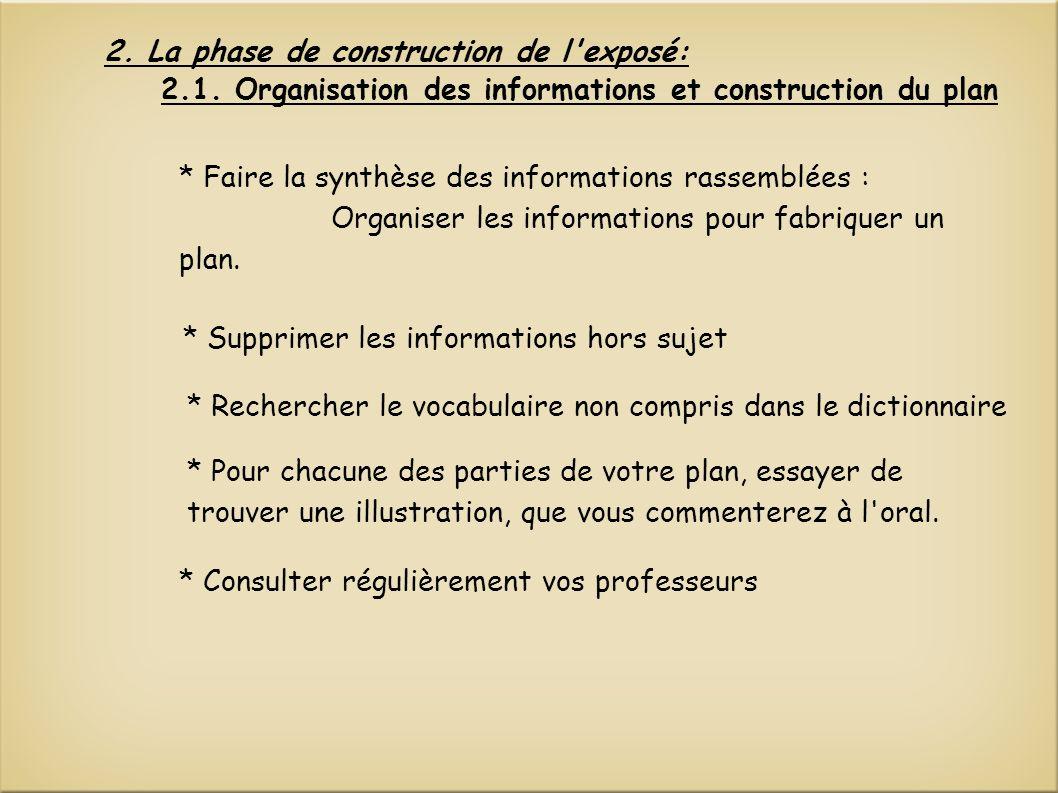 2. La phase de construction de l'exposé: * Pour chacune des parties de votre plan, essayer de trouver une illustration, que vous commenterez à l'oral.