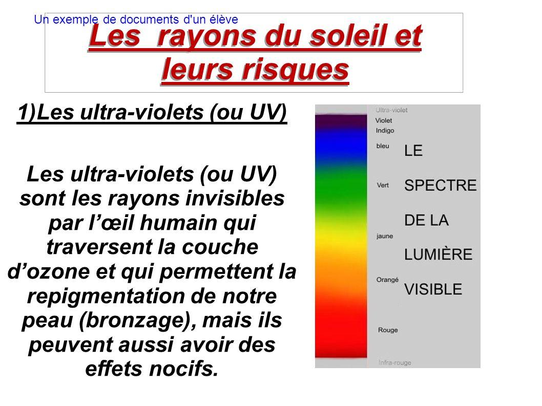 Les rayons du soleil et leurs risques 1)Les ultra-violets (ou UV) Les ultra-violets (ou UV) sont les rayons invisibles par lœil humain qui traversent la couche dozone et qui permettent la repigmentation de notre peau (bronzage), mais ils peuvent aussi avoir des effets nocifs.