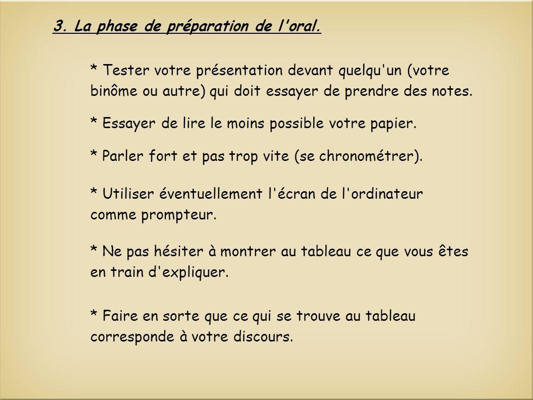 3.La phase de préparation de l oral.