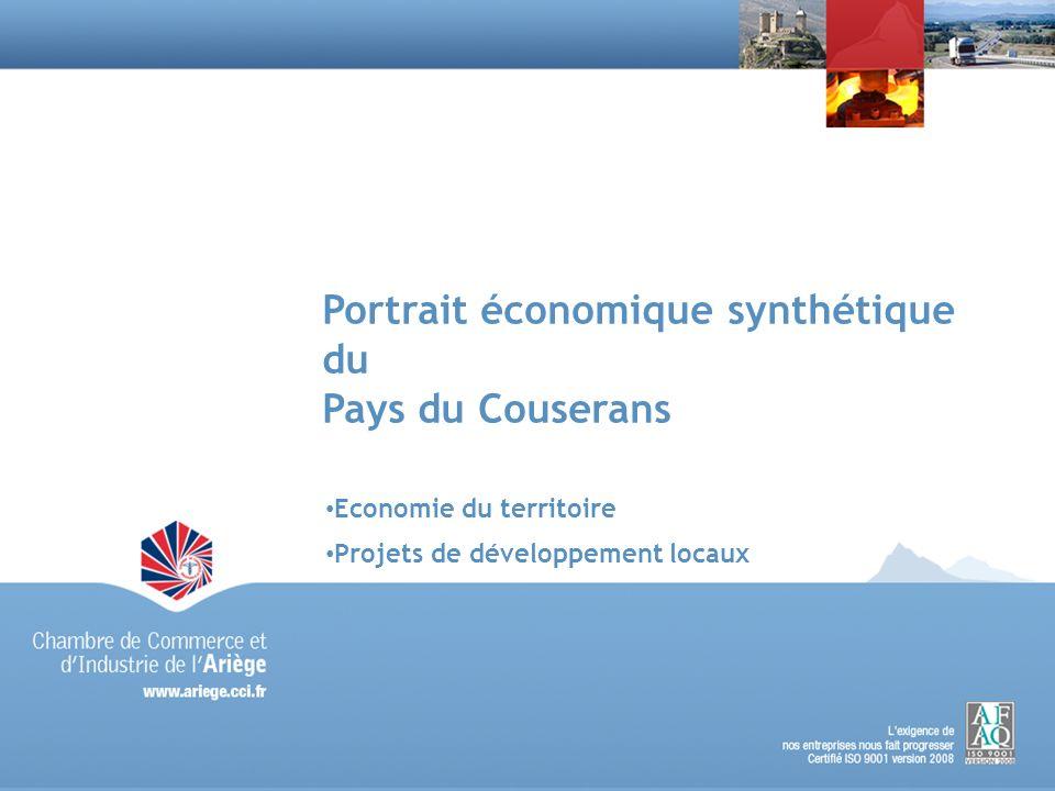 2Portrait économique synthétique du Pays du Couserans - avril 2010 2 Economie du territoire Superficie : 1638 Km² (1/3) Population : 30 566 hab (1/5) Densité : 19 hab./km² (30 hab./km²)