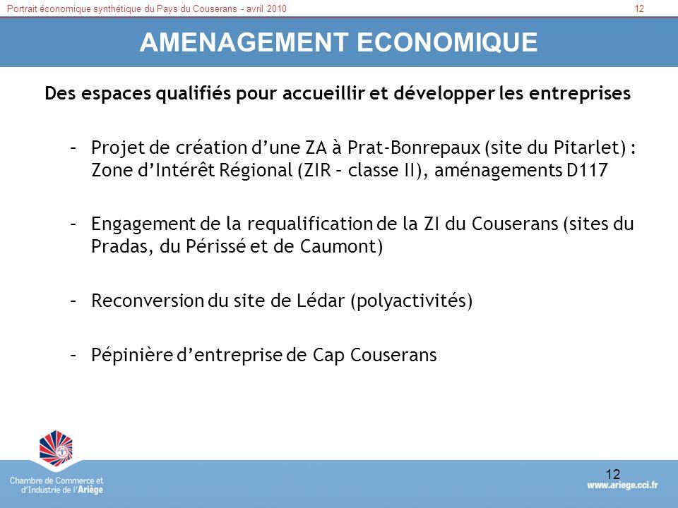 12Portrait économique synthétique du Pays du Couserans - avril 2010 12 AMENAGEMENT ECONOMIQUE Des espaces qualifiés pour accueillir et développer les