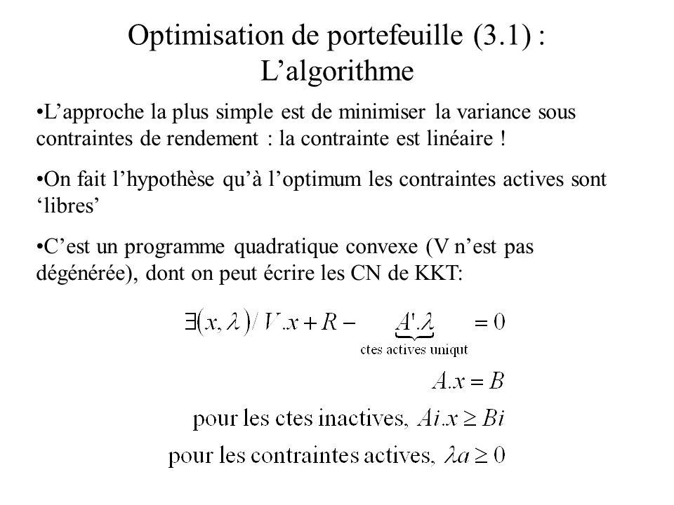 Optimisation de portefeuille (3.1) : Lalgorithme Lapproche la plus simple est de minimiser la variance sous contraintes de rendement : la contrainte e