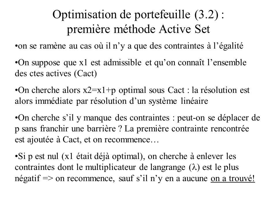 Optimisation de portefeuille (3.2) : première méthode Active Set on se ramène au cas où il ny a que des contraintes à légalité On suppose que x1 est a