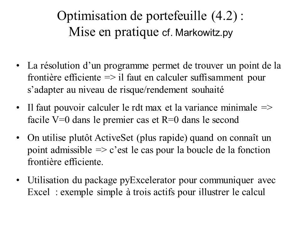Optimisation de portefeuille (4.2) : Mise en pratique cf. Markowitz.py La résolution dun programme permet de trouver un point de la frontière efficien