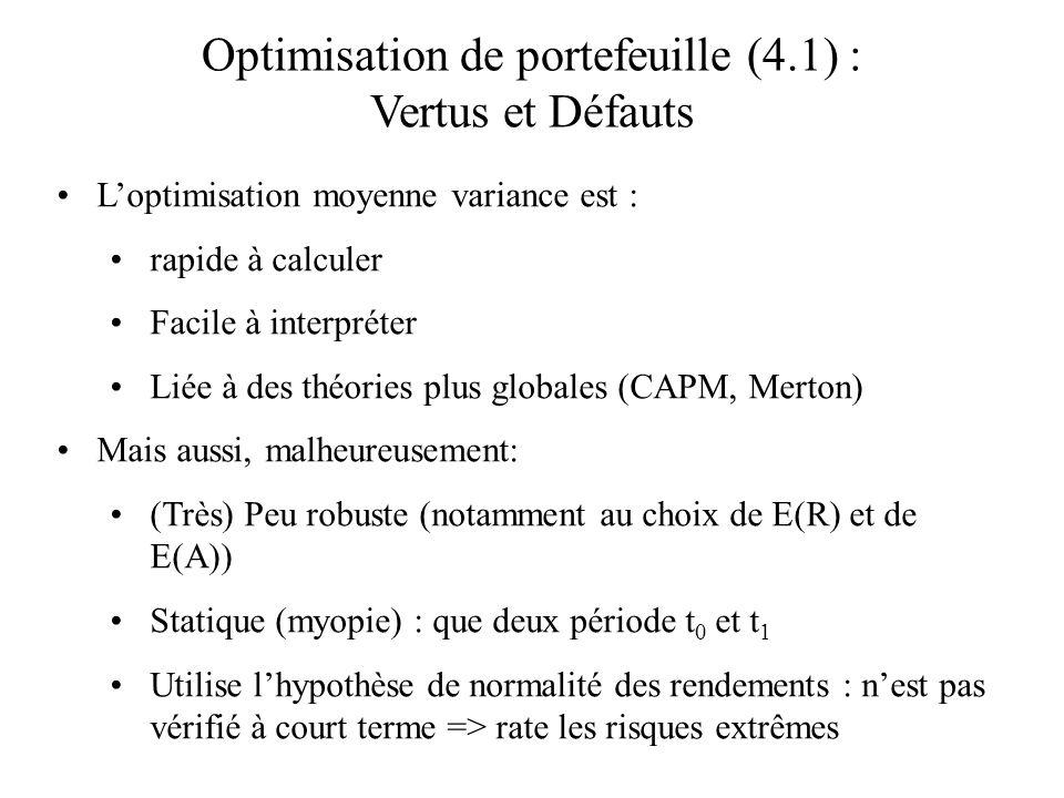 Optimisation de portefeuille (4.1) : Vertus et Défauts Loptimisation moyenne variance est : rapide à calculer Facile à interpréter Liée à des théories