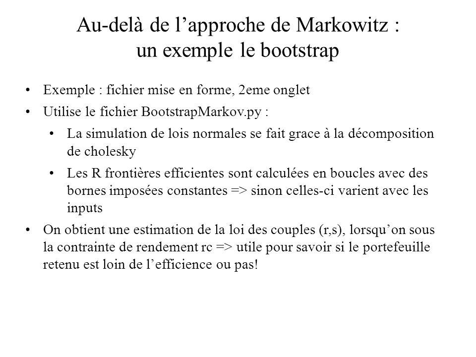 Au-delà de lapproche de Markowitz : un exemple le bootstrap Exemple : fichier mise en forme, 2eme onglet Utilise le fichier BootstrapMarkov.py : La si