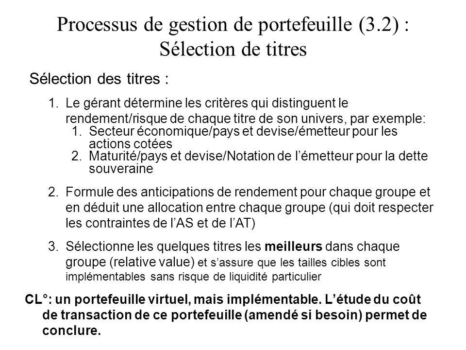 Processus de gestion de portefeuille (3.2) : Sélection de titres Sélection des titres : 1.Le gérant détermine les critères qui distinguent le rendemen