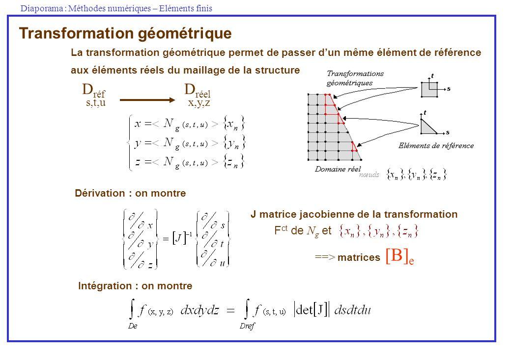 Diaporama : Méthodes numériques – Eléments finis D réf D réel s,t,ux,y,z nœuds Transformation géométrique La transformation géométrique permet de pass