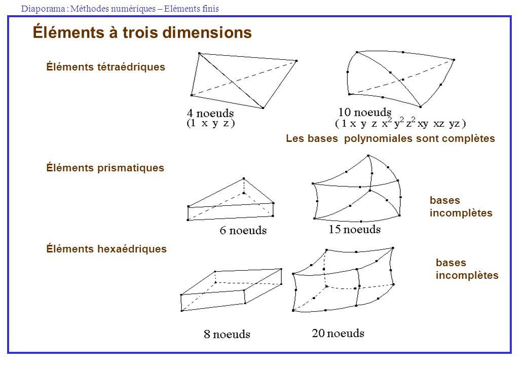 Diaporama : Méthodes numériques – Eléments finis Éléments à trois dimensions bases incomplètes bases incomplètes Éléments tétraédriques Éléments prism