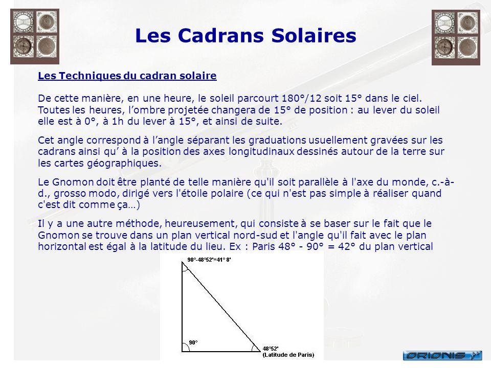 Les Techniques du cadran solaire De cette manière, en une heure, le soleil parcourt 180°/12 soit 15° dans le ciel. Toutes les heures, lombre projetée