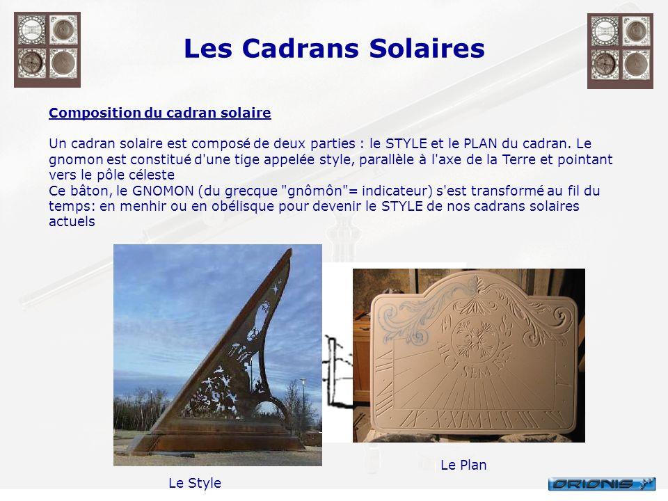 Les Cadrans Solaires Composition du cadran solaire Un cadran solaire est composé de deux parties : le STYLE et le PLAN du cadran. Le gnomon est consti