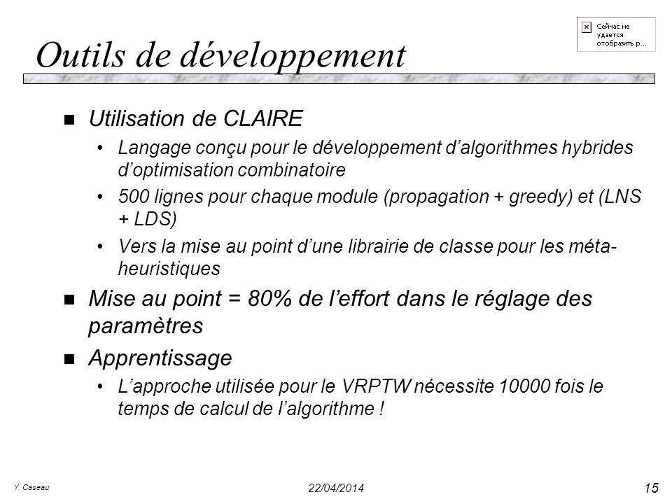 Y. Caseau 22/04/2014 15 Outils de développement n Utilisation de CLAIRE Langage conçu pour le développement dalgorithmes hybrides doptimisation combin